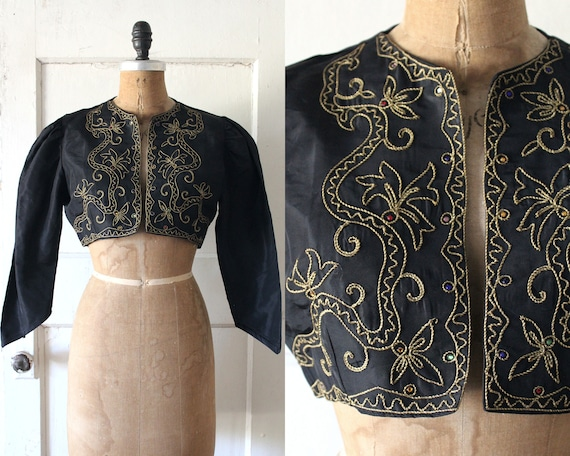 Vintage 1940s Black Bolero with Gold Embroidery an