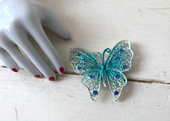 Vintage 1960s Large Blue Butterfly Brooch / 1950s… - image 5