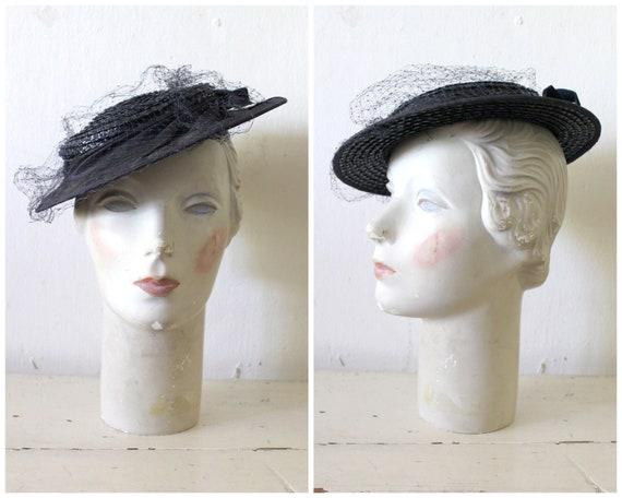 Vintage 1930s Navy Straw Tilt Hat / 30s Brimmed St