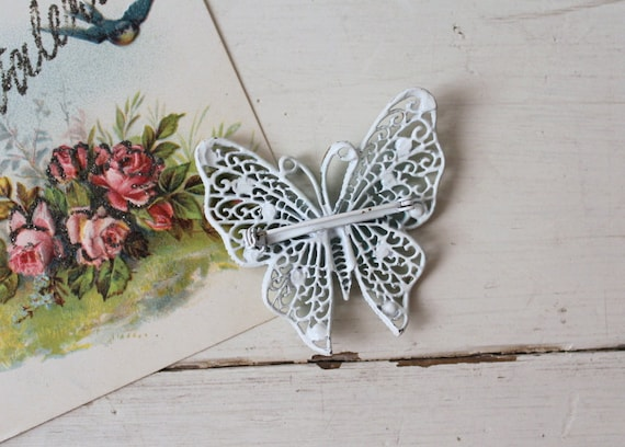 Vintage 1960s Large Blue Butterfly Brooch / 1950s… - image 3