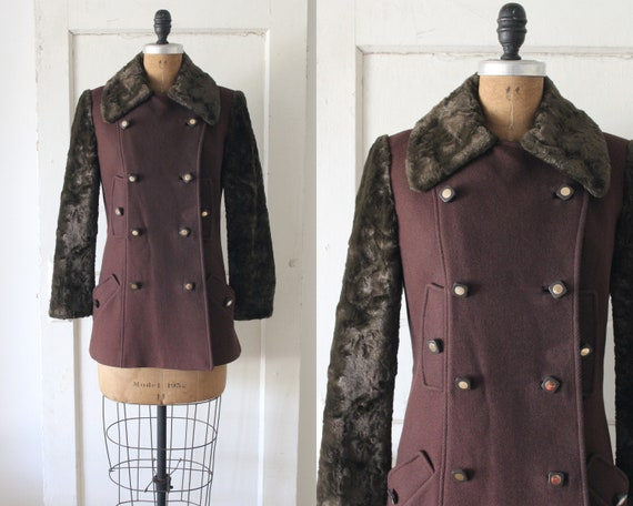 Vintage 1960s Brown Teddy Bear Coat / 60s Wool Pea