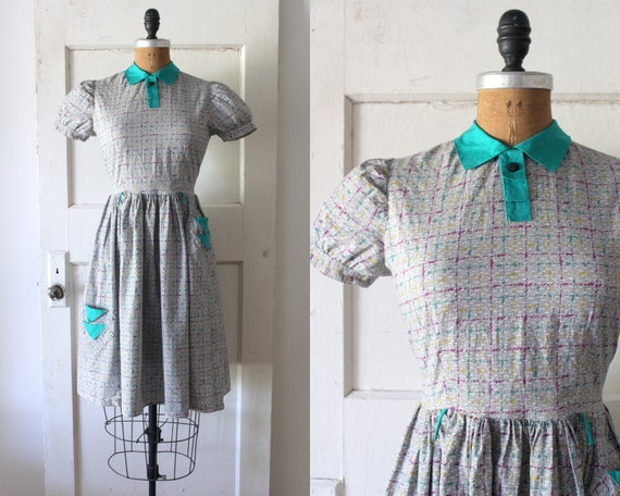 Vintage 1930s Pastel Gradient Hatch Print Dress /