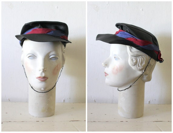 Vintage 1940s Black Conductor Hat / 40s Straw Fron