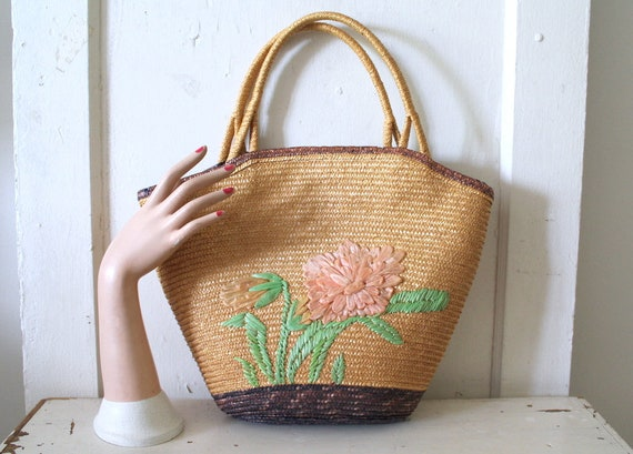 Vintage 1960s Large Straw Tote Bag / 60s Tote Bag