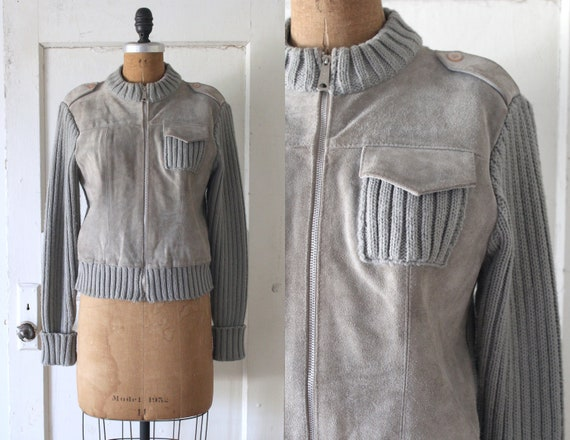 Vintage 1970s Grey Suede and Knit Sweater Jacket /