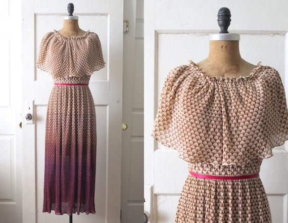 Vintage 1970s Ombre Deco Print Dress / 70s Pleated