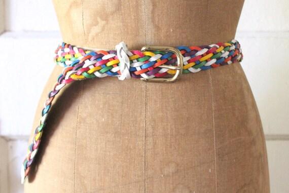 Vintage 1980s Rainbow Leather Belt / 80s Capezio B