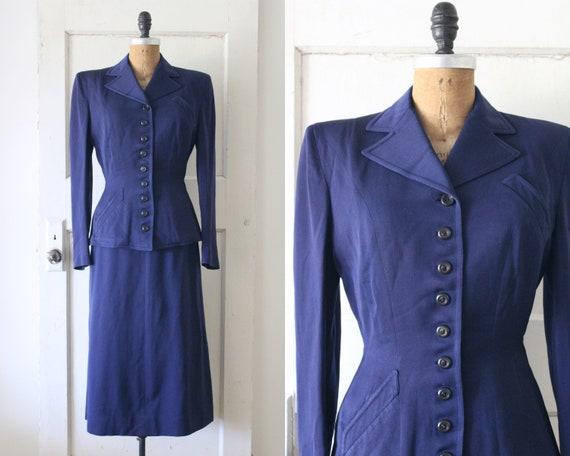 Vintage 1940s Navy Gabardine Suit / 40s Deco Blaze