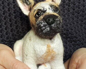 Pet Portrait, Needle felted bulldog