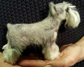 Pet Portrait ,Needle felted miniature schnauzer MADE TO ORDER