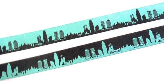 Barcelone de ruban turquoise noir réversible Web ceinture tressée...