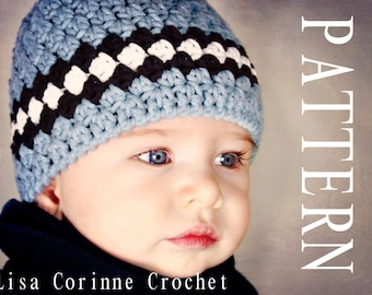 Newborn Hat PATTERN Baby Boy Hat Crochet PATTERN Striped  223dd9925e0