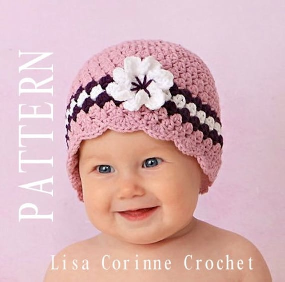 88bb5c7847b Crochet Baby Hat with Flower Baby Girl Crochet PATTERN Baby