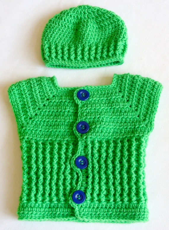 Baby Boy Sweater Vest And Hat Crochet Patterns Sweater Vest Etsy
