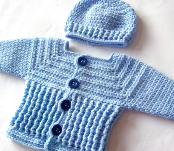 Baby Boy Sweater Set Crochet Pattern Crochet Baby Sweater And Etsy
