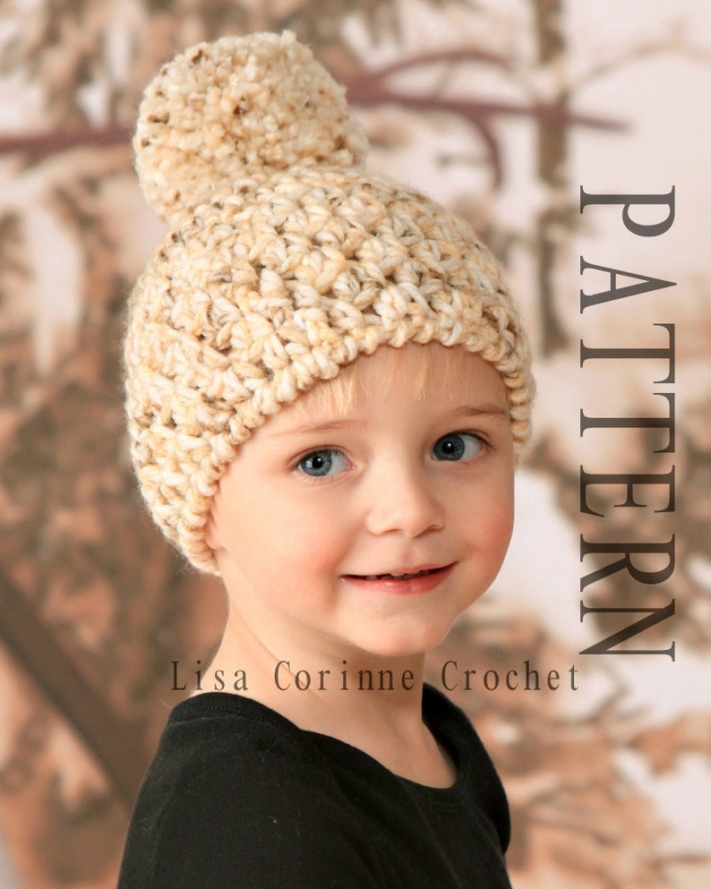 Pom Pom Hat, Crochet Hat PATTERN, Crochet Baby Hats, Baby Boy Hats Pattern,  Crochet Baby Hat Patterns