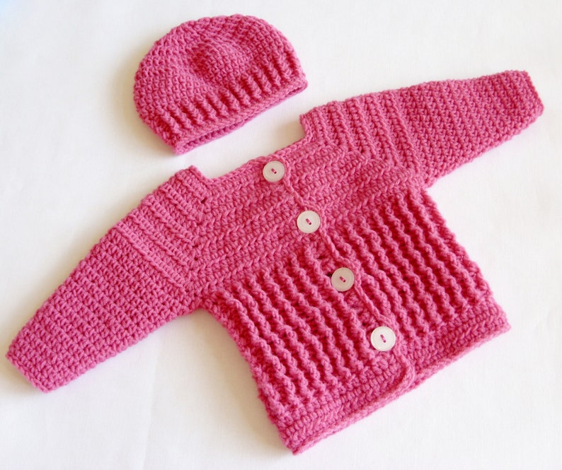 ce299088d76c Baby Girl Sweater Set Crochet PATTERN Crochet Baby Sweater