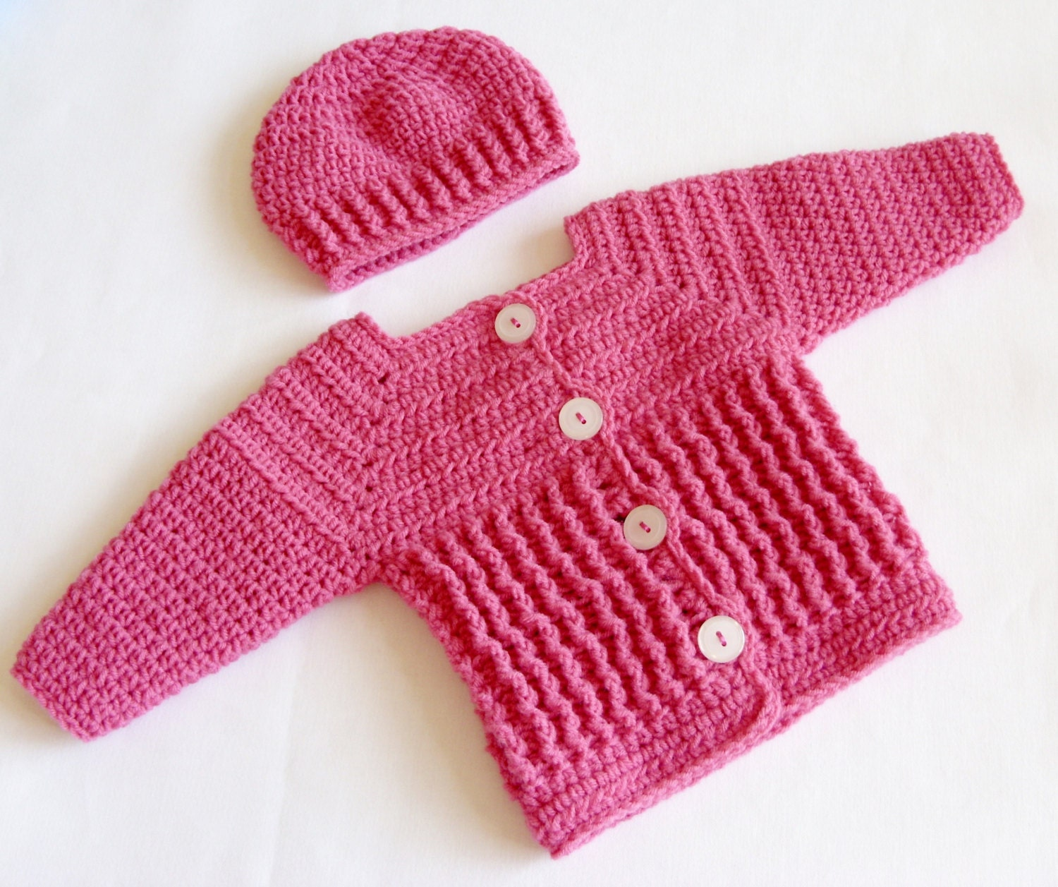Baby Girl Sweater Set Crochet PATTERN, Crochet Baby Sweater and Hat ...