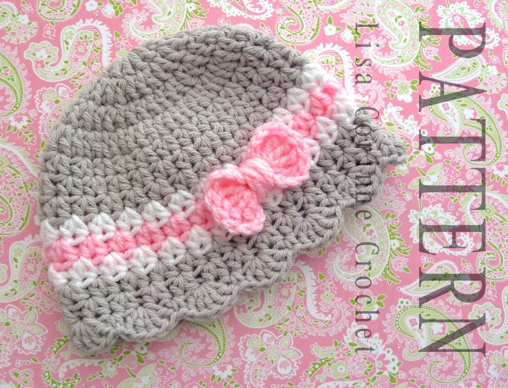 Baby Hat Crochet Pattern Baby Girl Hats Pattern Crochet Bow Etsy