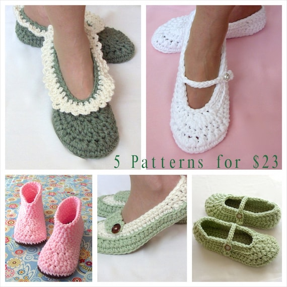 Crochet Pattern Sale, 5 Patterns, Women s Slipper Patterns, Wedding ...