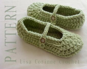 Crochet Slippers, Crochet Slippers PATTERN, Ladies Slippers, Crochet Shoes, Womens House Slippers, Mary Jane Slippers