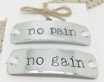717896de93 No Pain No Gain Trainer Tags, Sneaker Tags, Hand Stamped, Gift for Runners,  Keep Fit, Trainer Accessories, Running Shoe Tag, Marathon gift