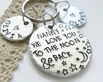 Personalised grandma keyring, 'We love you to the moon & back'  Mothers day gift, Nanny gift, Gift for nana from children,  gift, Valentines