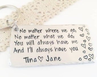 Personalised Sister Siblings gift, Long distance best friend friendship keyring, Mother's day present for mom, Custom made family keychain