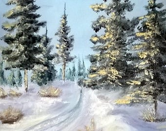 THE way snow landscape oil painting