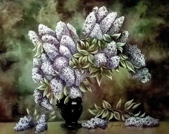 Bouquet of lilac - floral oil painting
