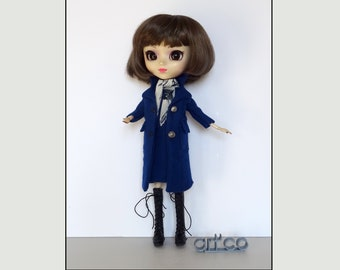 Coat, dress and scarf outfit for Pullip doll. An ART'CO creation