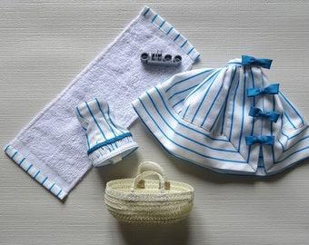 Retro swimsuit and summer skirt for Pullip. An Art'co creation