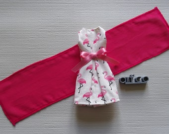 Sleeveless cotton dress and the scarf, for Skipper doll. An Art'co creation