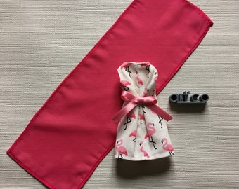 Sleeveless cotton dress and the scarf, for Blythe doll. An Art'co creation