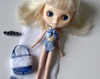 Beach or pool set, terrycloth towel and bathing suit for Blythe doll. An Art'co creation.