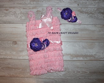 pink lace romper, headband and sash set