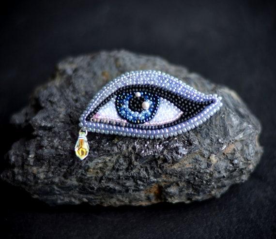 Eye brooch Evil eye beaded brooch  Blue eye pin Fashion brooch Embroidered brooch