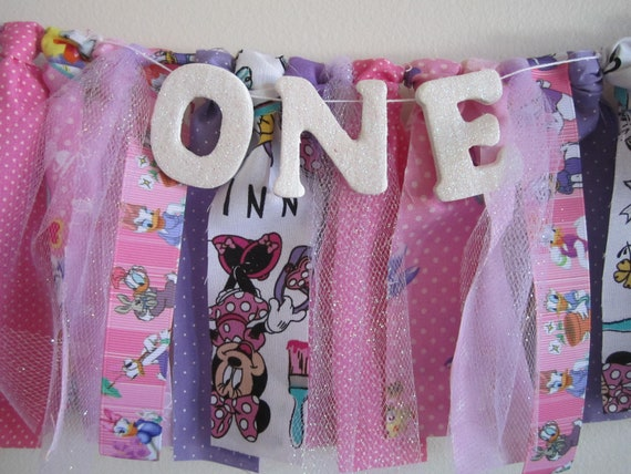 Daisy Duck and Minnie Mouse Birthday Banner Pink and Lilac Party Decor  Bedroom Nursery Decoration Smash Cake Party