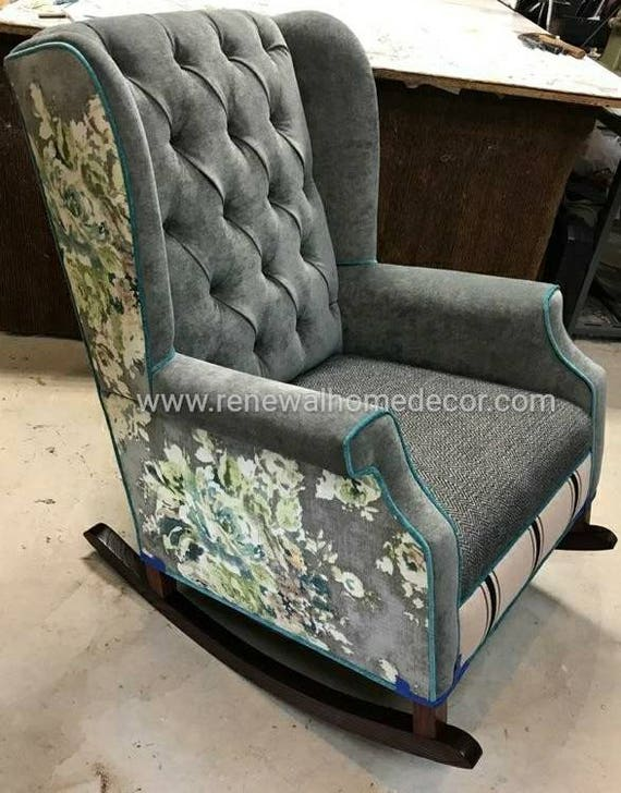 Fantastic Custom Order Wingback Rocking Chair That Will Be Customized To Fit Your Decor We Build This Frame And Can Customize The Fabrics For You Customarchery Wood Chair Design Ideas Customarcherynet