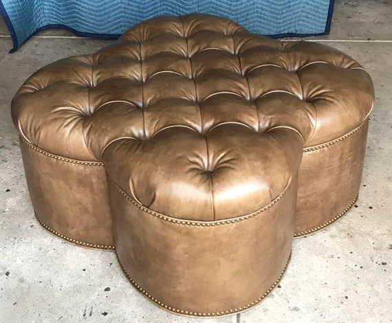 Leather Ottoman Clover Shaped Tufted Leather Coffee Table Etsy