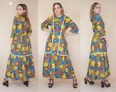 1970s patchwork calico prairie dress