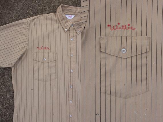vintage chain stitch striped work shirt