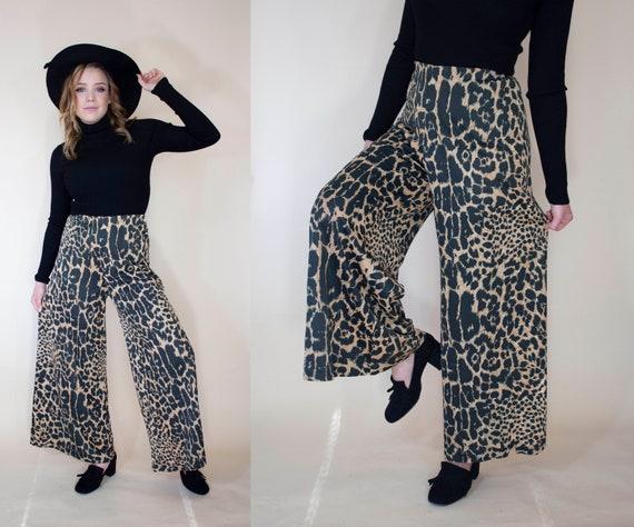 vintage 1970s super wide leg pants leopard print … - image 3