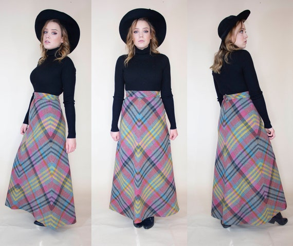 vintage 1970s wool plaid maxi skirt with liner - image 2
