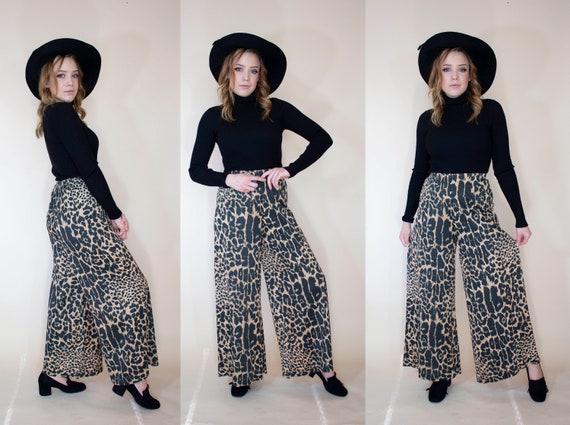 vintage 1970s super wide leg pants leopard print … - image 7