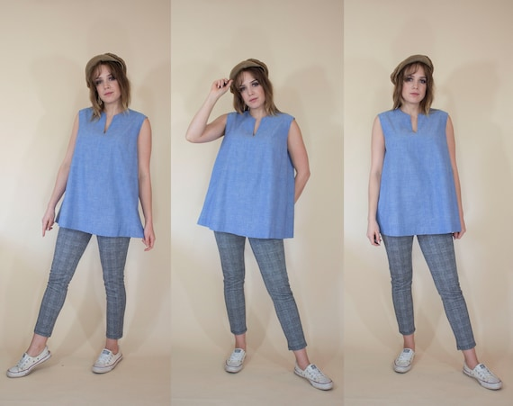 1960s denim chambray sleeveless top