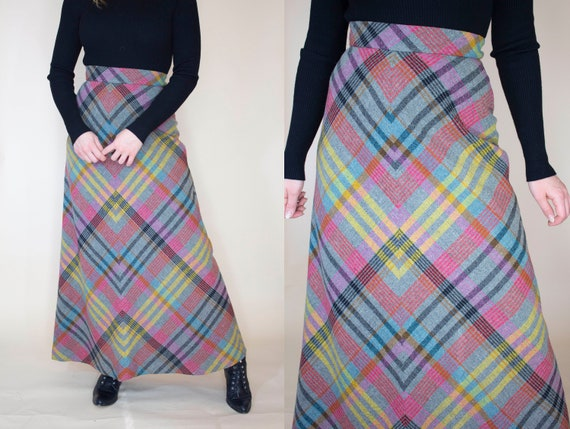 vintage 1970s wool plaid maxi skirt with liner - image 3