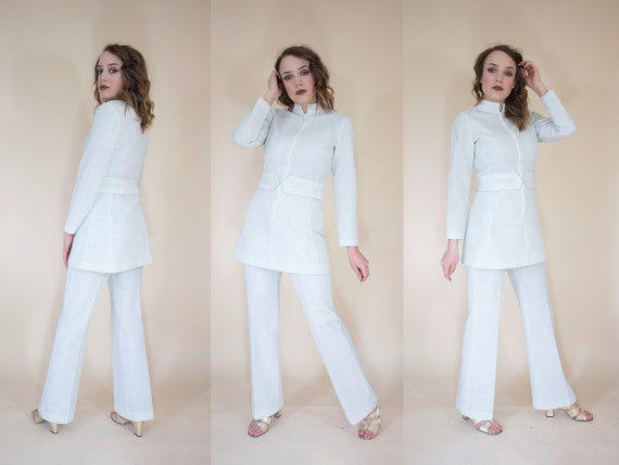 white and silver metallic leisure suit