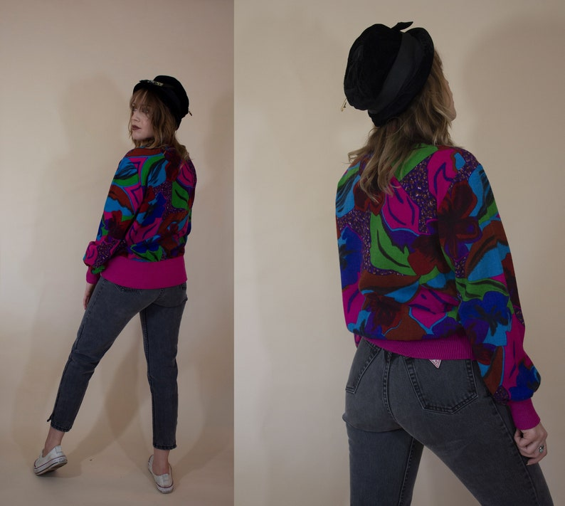 vintage 1980s sweatshirt sweater long sleeve blouse button closure pussy bow novelty