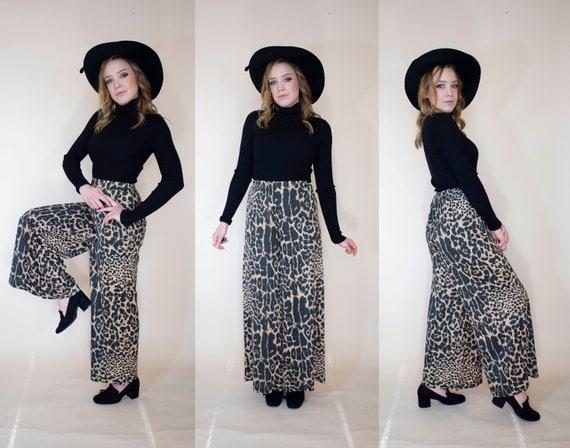 vintage 1970s super wide leg pants leopard print … - image 1